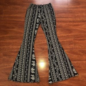 Pants - Printed High Waisted Flares